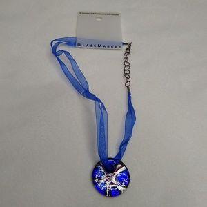 Corning Glass Art Pendant Ribbon Necklace